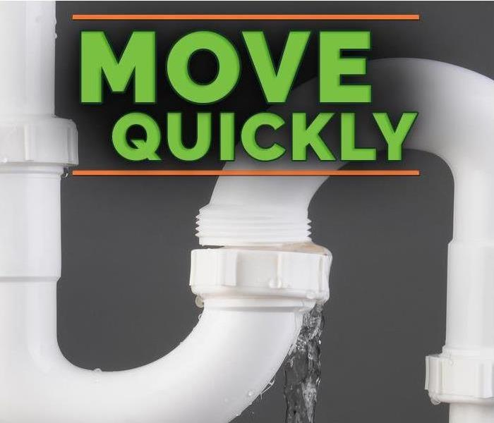 "Pipe that has water coming out of it with an overlay that reads ""move quickly"""